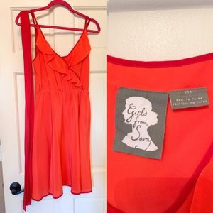Anthropologie coral red dress size 6
